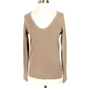 James Perse Standard V-Neck Thermal Shirt Beige